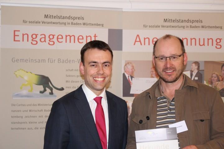 Albrecht Bühler mit Wirtschafts- und Finanzminister Dr. Nils Schmid