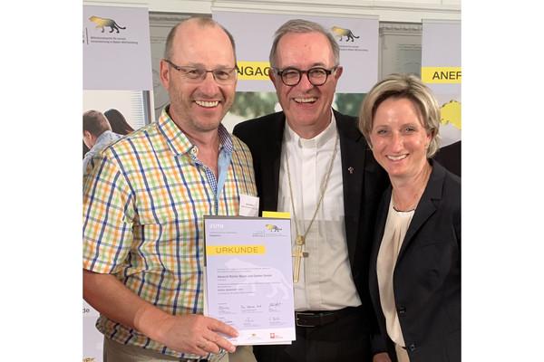 Albrecht Bühler, Landesbischof Frank Otfried july und Wirtschaftsministerin Nicole Hoffmeister-Kraut