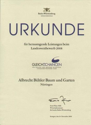"""Urkunde Landeswettbewerb 2008 """"Gleiche Chancen für Frauen und Männer im Betrieb"""""""