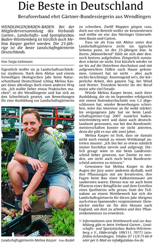 Zeitungsartikel zum Bundessieg der Landschaftsgärtner